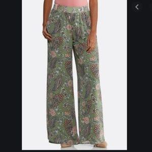 Cato green paisley palazzo pants